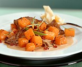 Roast venison with pumpkin