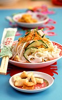 Asian noodle salad with vegetables and sesame