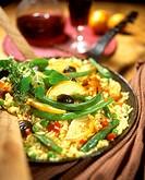 Spanish vegetable paella in the pan