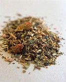 Herb tea leaves with peppermint