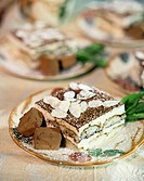 Tiramisu with flaked almonds on plate