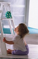 Ladder, baby, floor, sit, gaze, ball, indoors, at home, child, toddler, leaders, toy, gaze upwards, looks up, looks