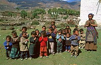 School children. Remote village of Dhakmar. Kingdom of Mustang. Nepal
