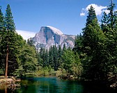 Yosemite National Park: Half Dome and Merced River. California. USA (May, 1989)