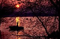 Silhouetted person on lake