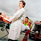 Ambulance staff with patient (thumbnail)