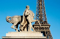 Eiffel Tower and statue on the Iena Bridge. Paris. France