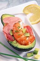 Avocados with shrimps