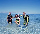 Group, Beach, Swimwear, Scuba Divers