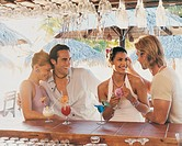 Two Couples on Holiday Having a Discussion By a Bar Counter
