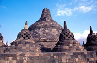 Stupas at Borobudur, Jogjakarta, Java, Indonesia