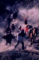 Horsemen at the foothills of Mt. Bromo, Indonesia