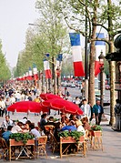10330335, Champs Elysees, flags, banners, France, Europe, life, people, Paris, street cafe, Tricolors,