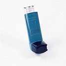 Asthma inhaler. This pump dispenses a bronchodilator drug to relieve the symptoms of asthma. Asthma causes breathing difficulties due to contraction o...