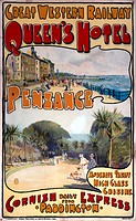 Poster produced for the Great Western Railway (GWR), promoting rail travel to the Cornish resort of Penzance, showing views of the seafront promenade ...