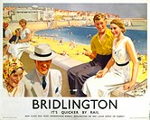 Poster produced for London & North Eastern Railway (LNER) to promote rail travel to the coastal resort of Bridlington in Yorkshire. Artwork by Septimu...