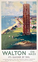 Poster produced for the London & North Eastern Railway, showing a view of this Essex coastal resort from a cliff-top golf course, beside a tower or fo...