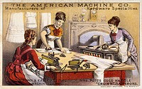 Items made by The American Machine Company, hardware specialists. Maids use fluting machines and flat irons to press clothes, while more irons heat on...