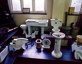 Public Health Museum, Liverpool, 1980.Interior view showing sanitary ware including lavatories and sinks.