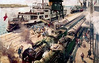 Oil on canvas painting by Terence Cuneo (1907-1996), showing SS Invicta moored at Calais whilst passengers alight onto the docks and make their way to...