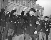 ´Sir Oswald Mosley, leader of the British Union of Fascists, marches with his Black Shirts to the East End of London´. Having previously been a Conser...