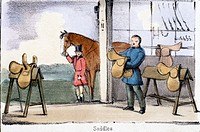 Vignette from a lithographic plate showing a tack room. Taken from ´The Pig´ in ´Graphic Illustrations of Animals - showing their utility to man in th...
