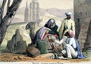 Vignette from a lithographic plate showing Arab traders using cowrie shells as currency. Taken from ´Crustacea & Reptiles´ in ´Graphic Illustrations o...