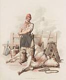 Hand coloured aquatint from ´The Costume of Great Britain´, a book containing 60 images of people at work and scenes of everyday life. The image shows...