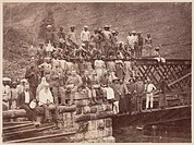 Albumen photograph by Lawton & Scowen, one of a series depicting the construction of various railway bridges in Ceylon (Sri Lanka) between 1878 and 18...