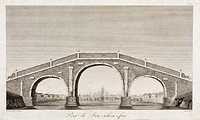 'Pont de Sou-tcheou-fou', one of a series of engravings by Deseve after original drawings by Deguignes depicting scenes in late 18th century China