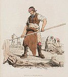 Hand-coloured aquatint from ´The Costume of Great Britain´, a book containing 60 images of people at work and scenes of everyday life. The image shows...