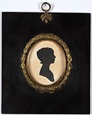 Silhouette portrait of Elizabeth Edginton, nee Cox, eldest daughter of Peter Cox, a British civil engineer.