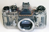 Perspex encased camera, c 1970.A Pentax Spotmatic single lens reflex (SLR) camera encased in transparent perspex to display its inner workings.