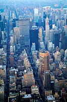 Aerial view of New York City with the Met Life Building and the Chrysler Building among the skyscrap