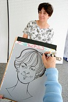 Artist drawing, ArtVentures art festival at Dadeland Mall. Miami. Florida, USA
