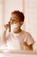 Boy Pretending to Shave
