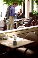 Man Leaving Breakfast Meeting
