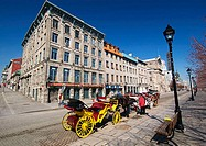 Horse-drawn carriage waiting for customers at the Old Port (Vieux Port) in Old Montreal (Vieux Montreal). Quebec, Canada