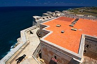 View from atop lighthouse at Castillo de los Tres Reyes del Morro in the Parque Historico Militar Morro Cabana, located across the bay from Havana.  T...