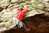 Kletterer am Überhang