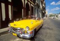 Old classic american car parked on the street in Old Havana. Cuba