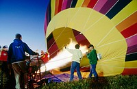 A hot air balloon is inflated during the Walla Walla hot air balloon Stampede. Walla Walla. Washington. USA