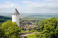 Typical landscape in southern lower-saxony near Goettingen, view from Plessenburg (Plesse castle) to the Leine valley. Germany