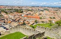 ´La Cité, Carcassonne medieval fortified town. Aude, Languedoc-Roussillon, France