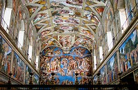 Renaissance frescoes by Michelangelo in the Sistine Chapel, Vatican Palace museums. Vatican City, Rome. Italy