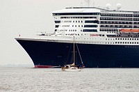 Queen Mary 2 on the Elbe River departing Hamburg. Germany