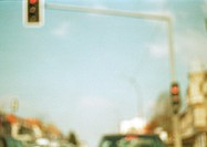 Traffic light, low angle view, blurred