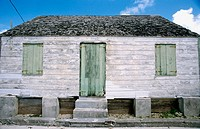 this little unrestored saltbox house is typical of the 19th century New England-style architecture found in the Abaco chain. Bahamas
