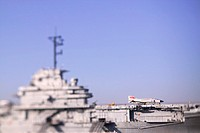 Selective focus of an aircraft on an American aircraft carrier ship in Charleston, SC