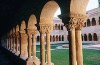 Cloister. Santo Domingo de Silos Benedictine monastery (11-12th centuries). Burgos province. Castilla y Leon. Spain